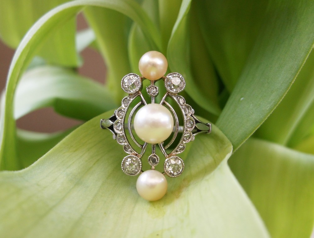 SOLD - Dreamy 1920's Old Mine cut and rose cut diamond and pearl ring set in platinum.