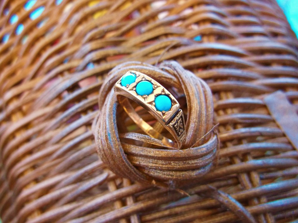 SOLD - Artful Victorian era turquoise and yellow gold ring with beautiful engraving detail.