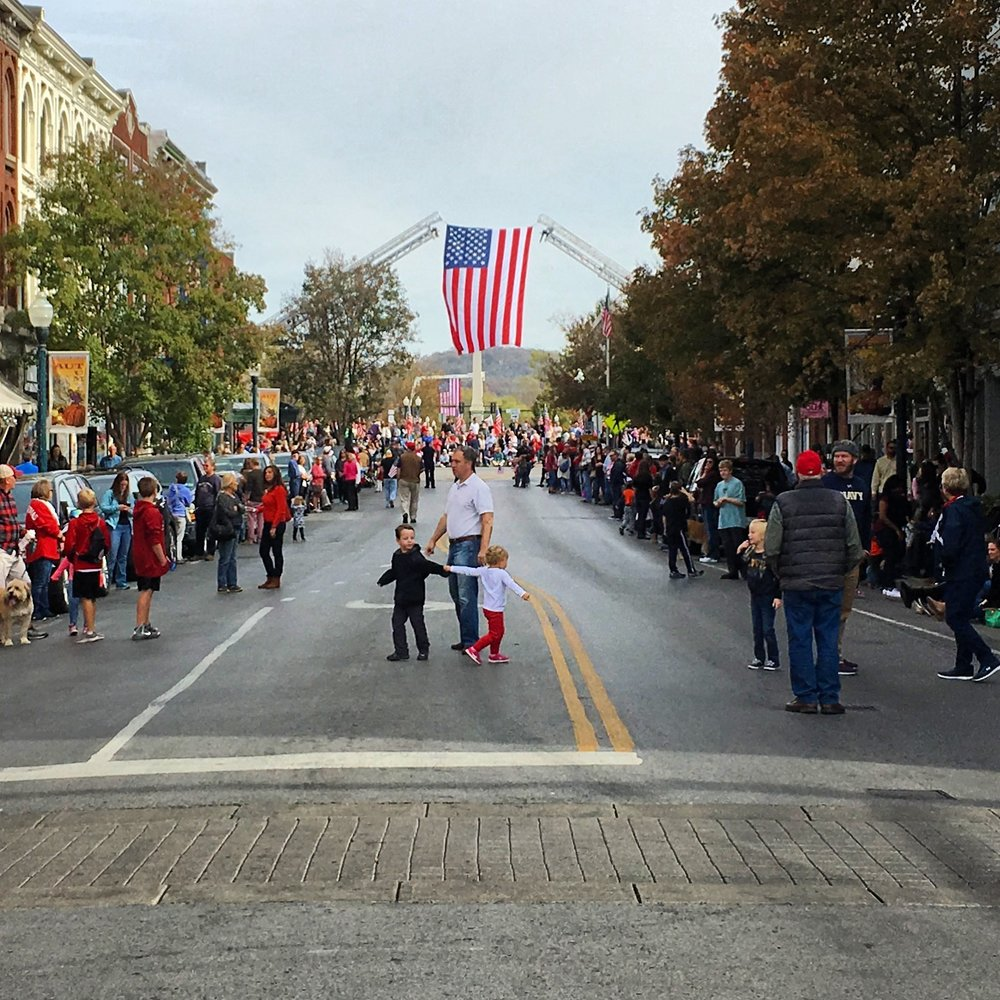 Main Street in Downtown Franklin prior to the Veterans Day Parade.