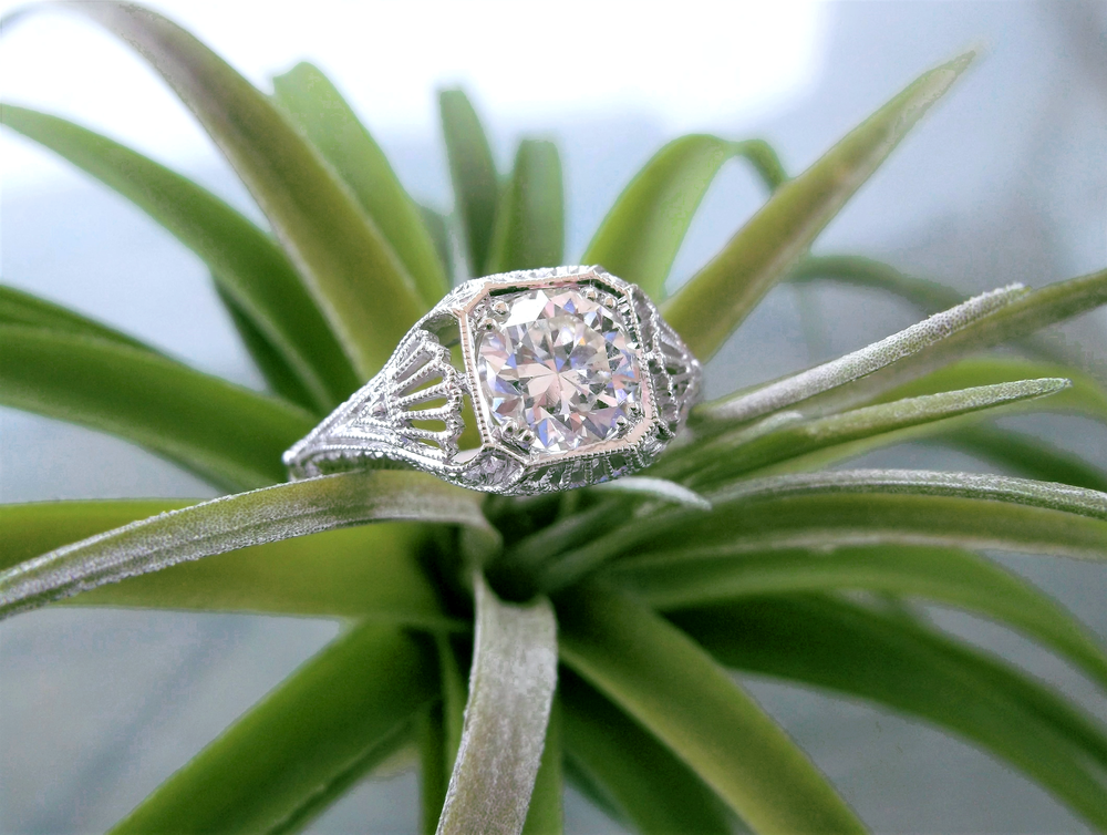 SOLD - Effortless and refined 1.20 carat Old European cut diamond set in a beautifully detailed filigree white gold mounting.