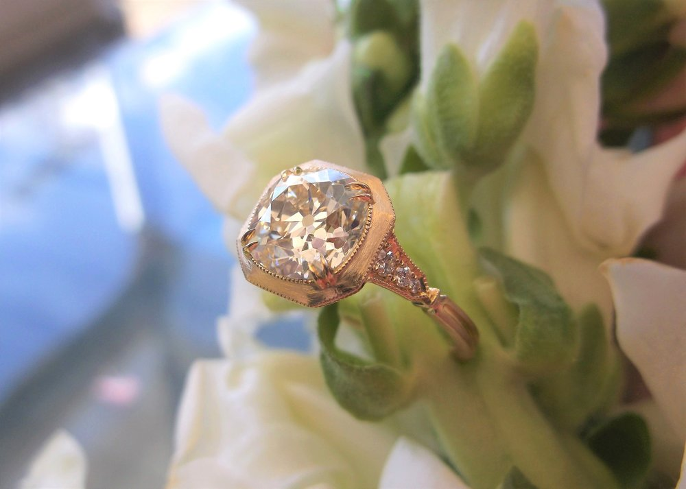 SOLD - Stunning 2.38 carat Old Mine cut diamond set in a fabulous yellow gold and diamond detail hand crafted mounting.