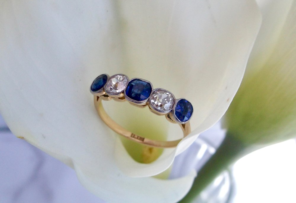 SOLD - Fabulous late Victorian era sapphire and diamond, platinum topped 18K yellow gold band that looks spectacular on its own or paired with other pieces! Shop this look  HERE
