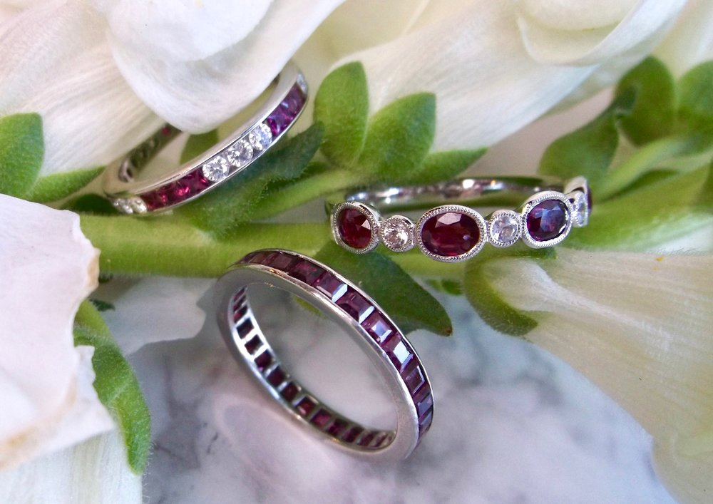 When in doubt, wear red! Ruby eternity band, ruby and diamond eternity band and ruby and white sapphire band, shop them all  HERE.