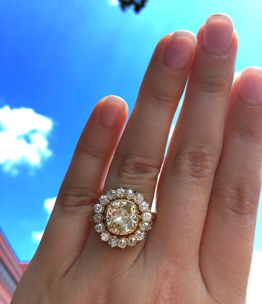 Basking in the glow of this fabulous Old Mine cut diamond ring!  Shop this jaw dropper  HERE .