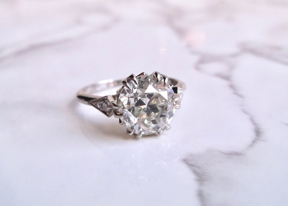 Make it a classic.  Shop this fabulous 2.88 carat Old European cut diamond ring HERE.