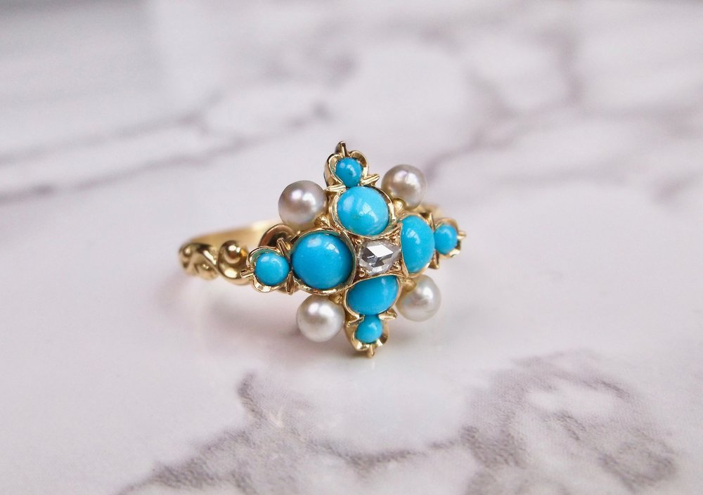 Fabulous Victorian era turquoise, seed pearl and rose cut diamond ring. Shop this lovely ring  HERE .