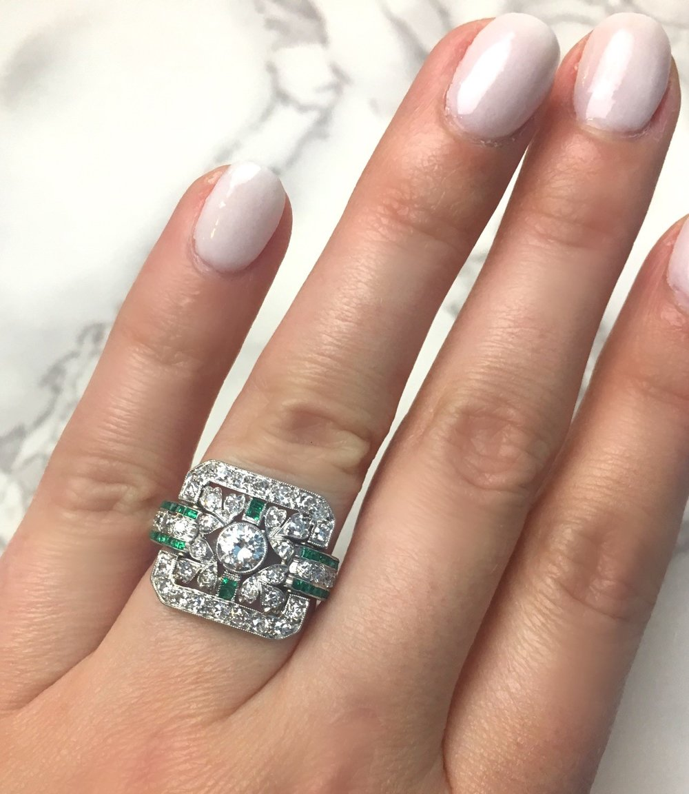 1920's Old European cut diamond and emerald ring! Shop this stunner  HERE .