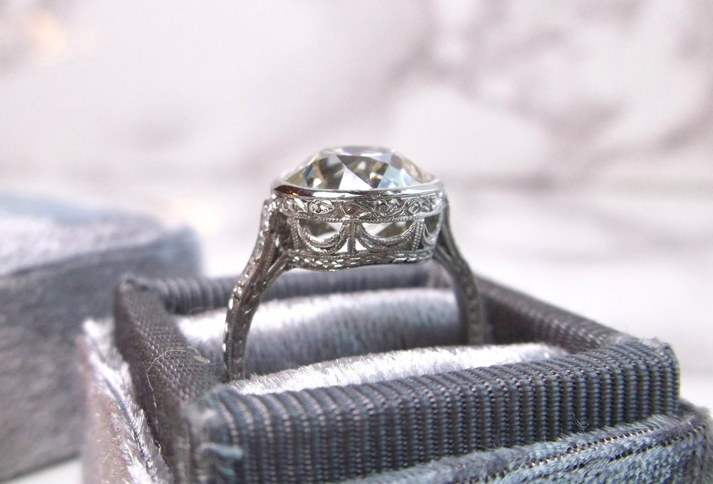 Side view of the 4.07 carat Old European cut diamond ring.  Shop this beauty  HERE .