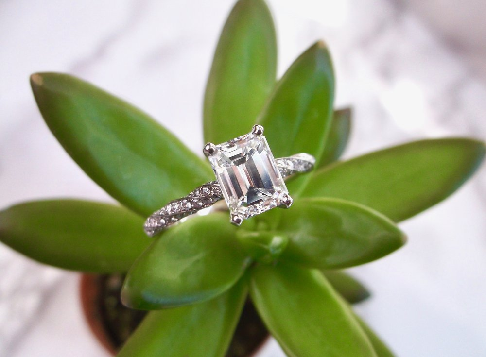 A diamond twist on a classic! Shop this gorgeous 1.36 carat emerald cut diamond ring  HERE .