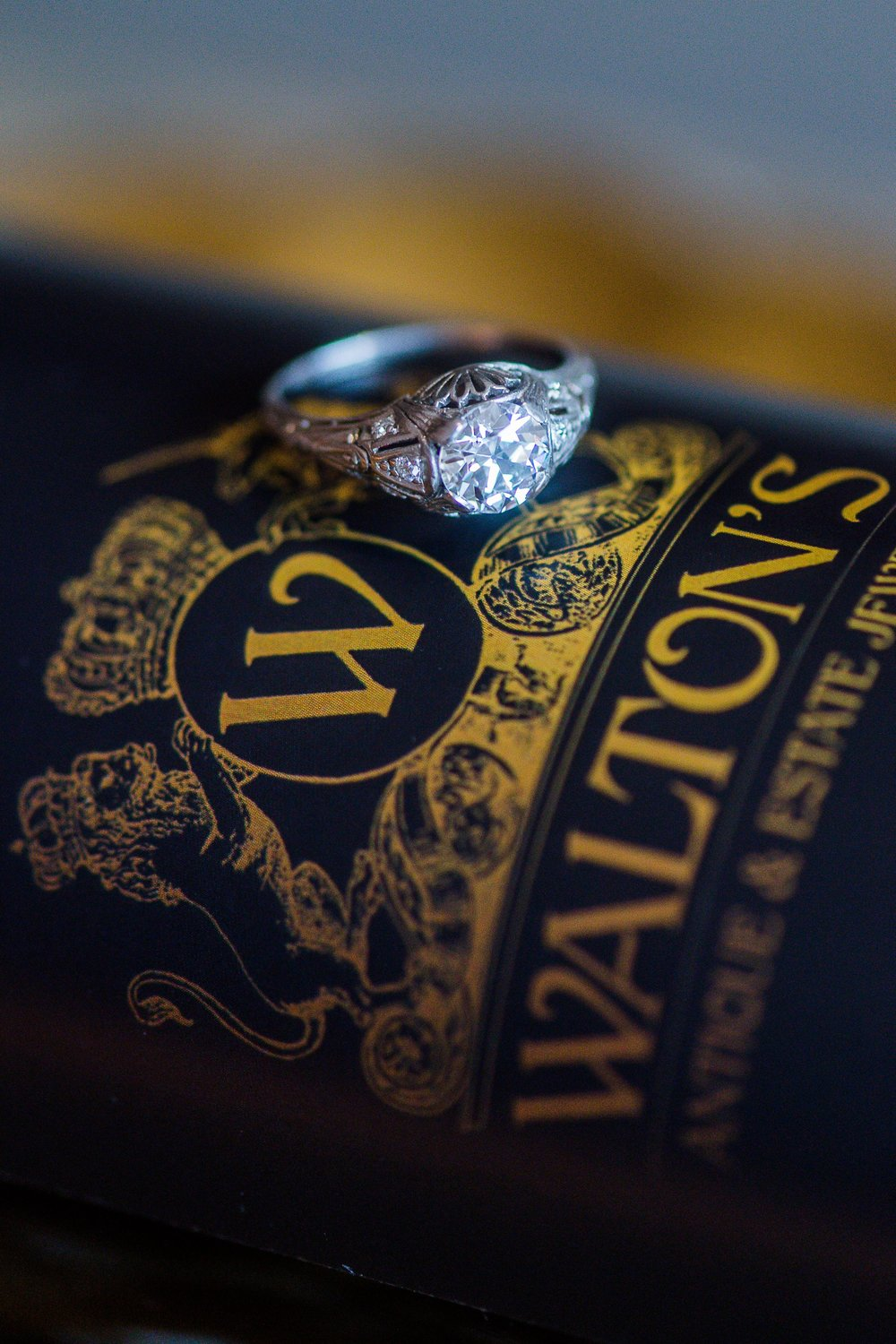 We're feeling so fancy with our custom labeled City Winery Cabernet Sauvignon and this Art Deco diamond beauty! Shop this ring  HERE .   Photography: Heather Durham Photography