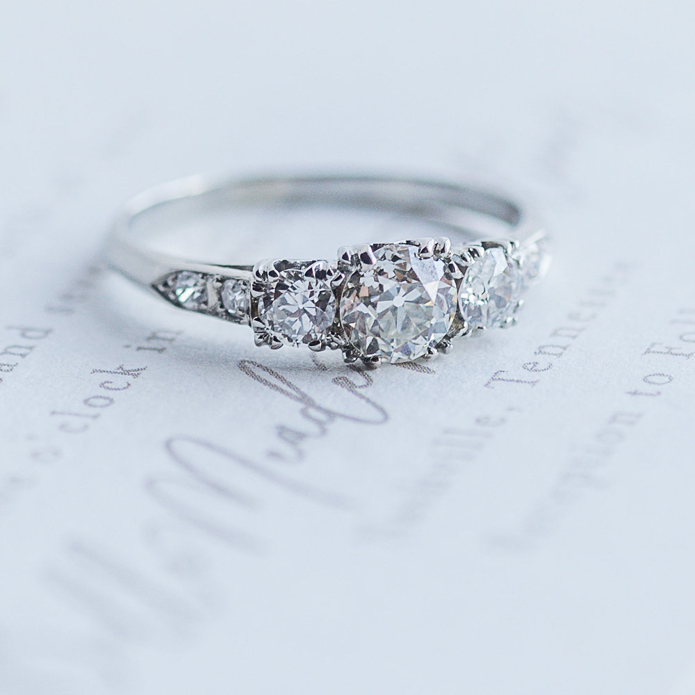 Classic three stone Old European cut diamond ring.  Shop this beauty  HERE .