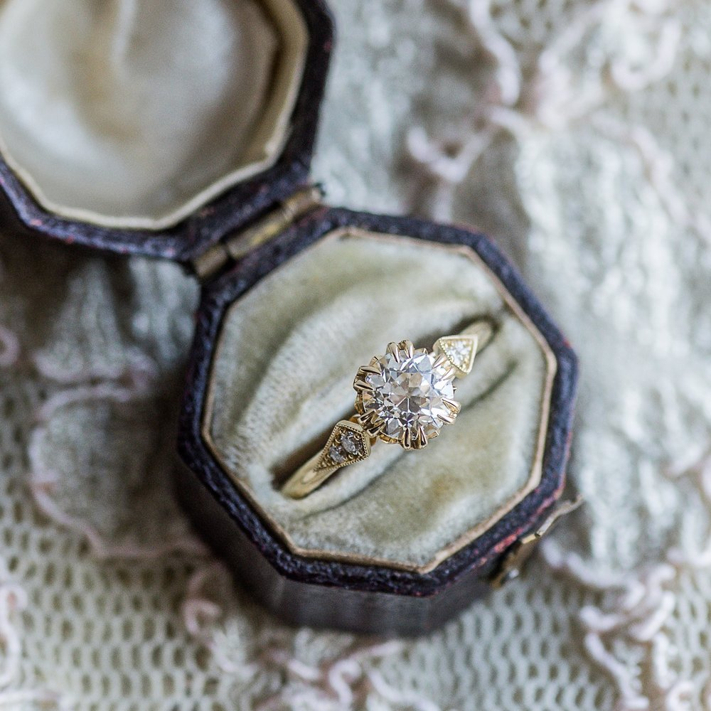 A stunning Old European cut diamond, stylish yellow gold, an antique jewelry box and a little lace. Need we say more?? Shop  HERE .