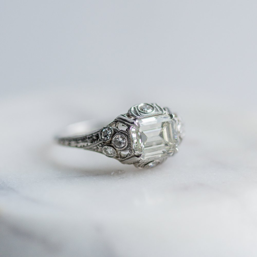 So fresh and so clean! The crisp lines on this Art Deco 1.56 carat emerald cut diamond beauty are just perfect! Shop this ring  HERE .