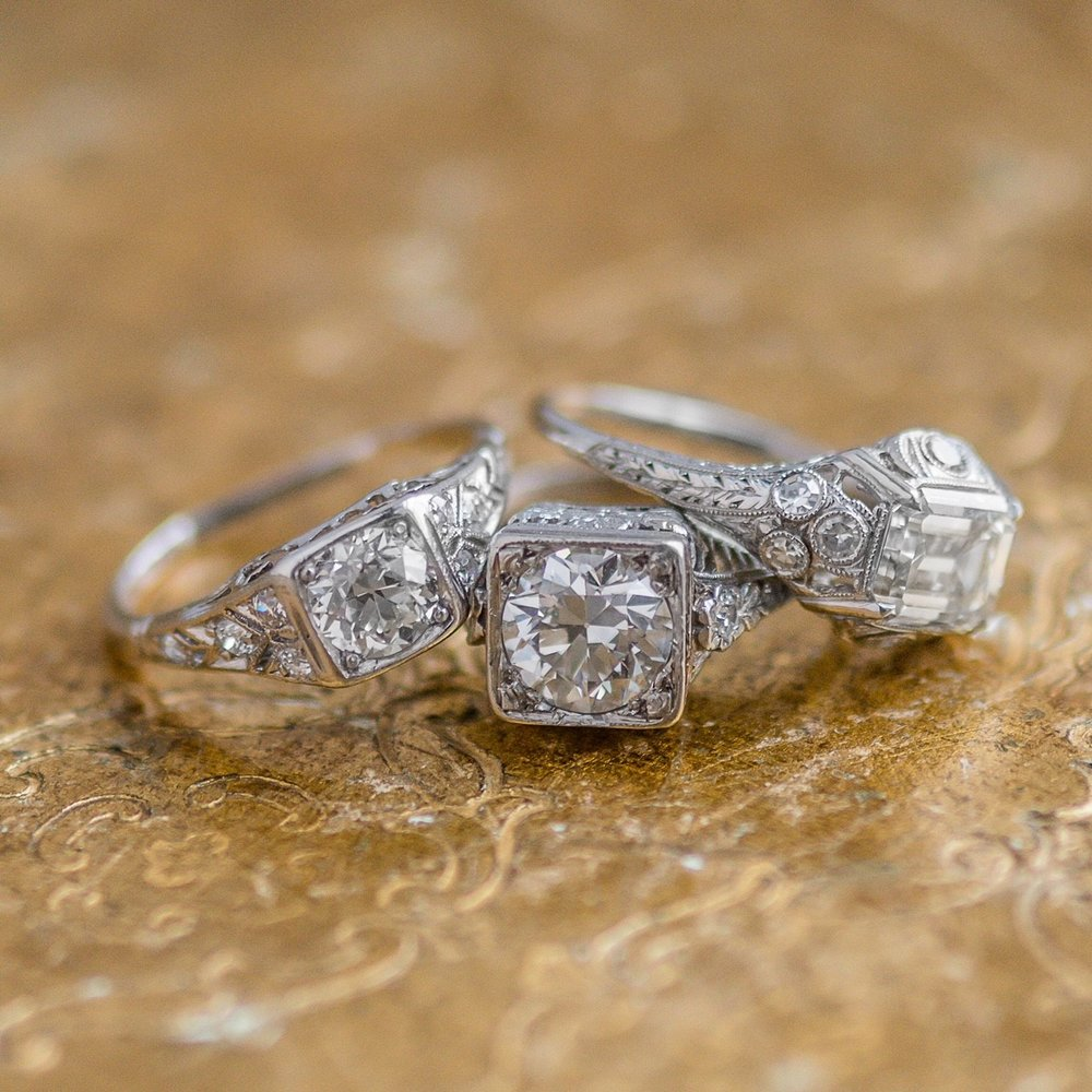 A fabulous Art Deco diamond trio! Shop these beauties  HERE ,  HERE  and  HERE .