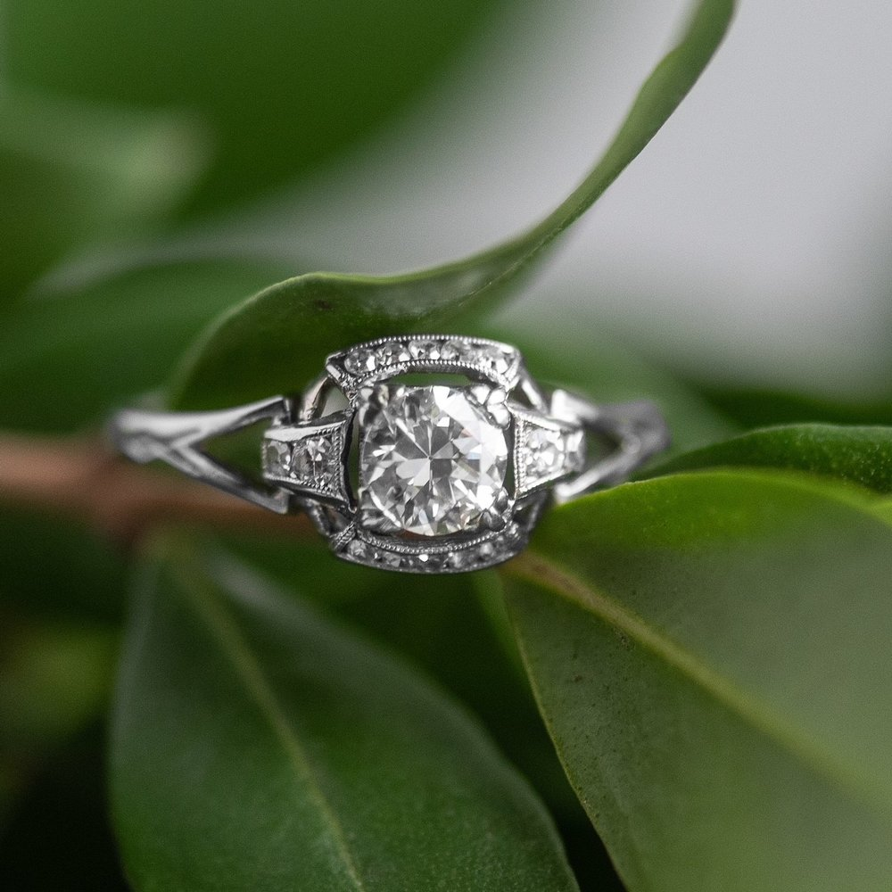Rise and shine with this lovely ray of sunshine! ☀️💍 0.44 carat Old European cut diamond set into an Art Deco Orange Blossom mounting. Shop  HERE .