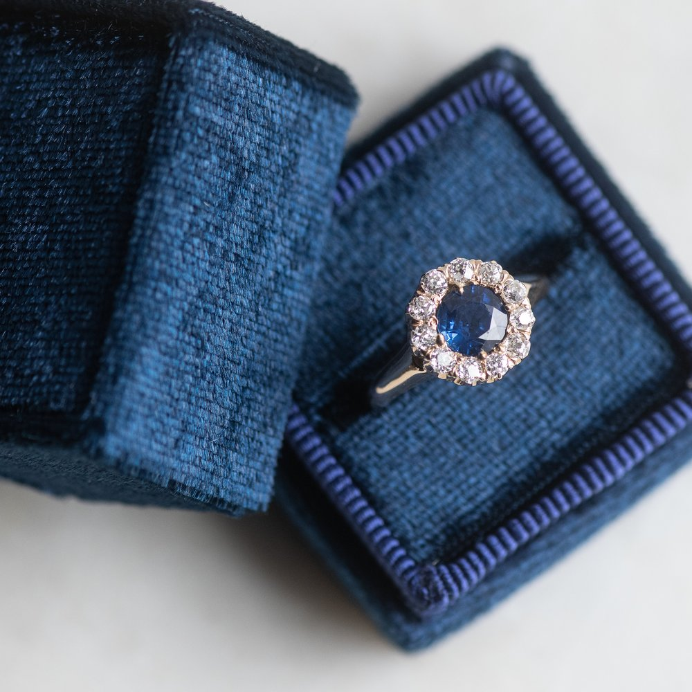 Romantic Victorian era diamond and sapphire ring featuring a center 1.12 carat sapphire.  Shop this beauty  HERE .