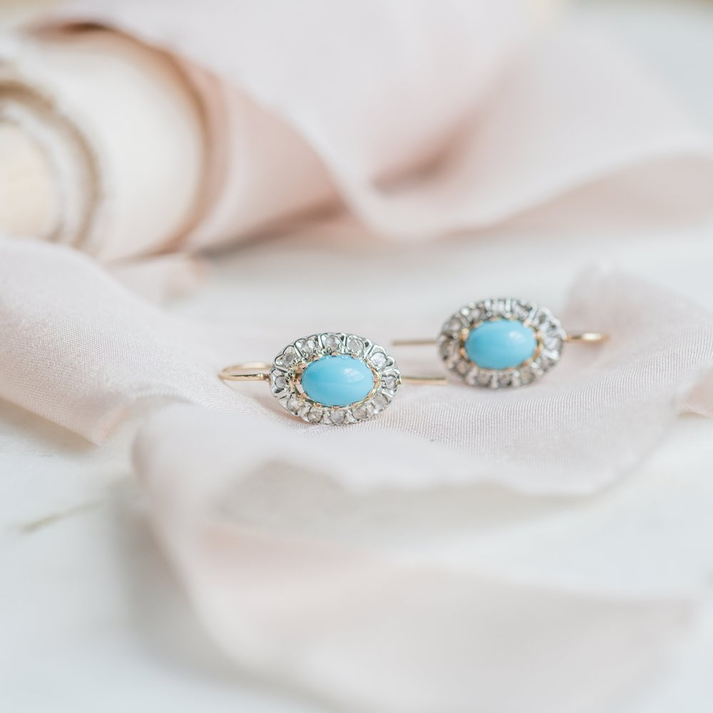 Robin's egg blue, turquoise and diamond earring perfection! Shop this lovely pair  HERE .