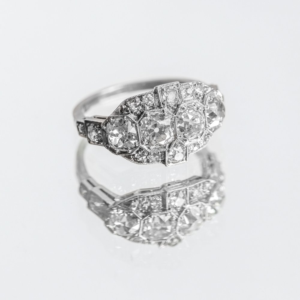 Jaw dropping Art Deco, Old Mine cut diamond ring featuring over 3.00 carats in diamonds! Shop this stunner  HERE .