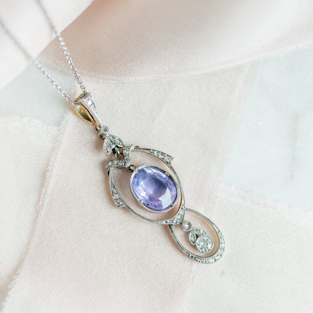 Heavenly Edwardian era purple sapphire and rose cut diamond necklace 💜 Shop this beauty  HERE .