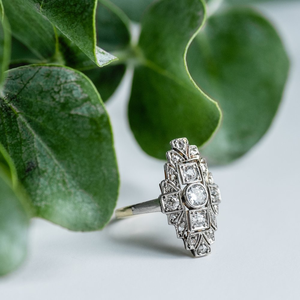 Beautiful Edwardian era elongated diamond ring featuring 1.25 carats of diamonds! Shop this beauty  HERE .