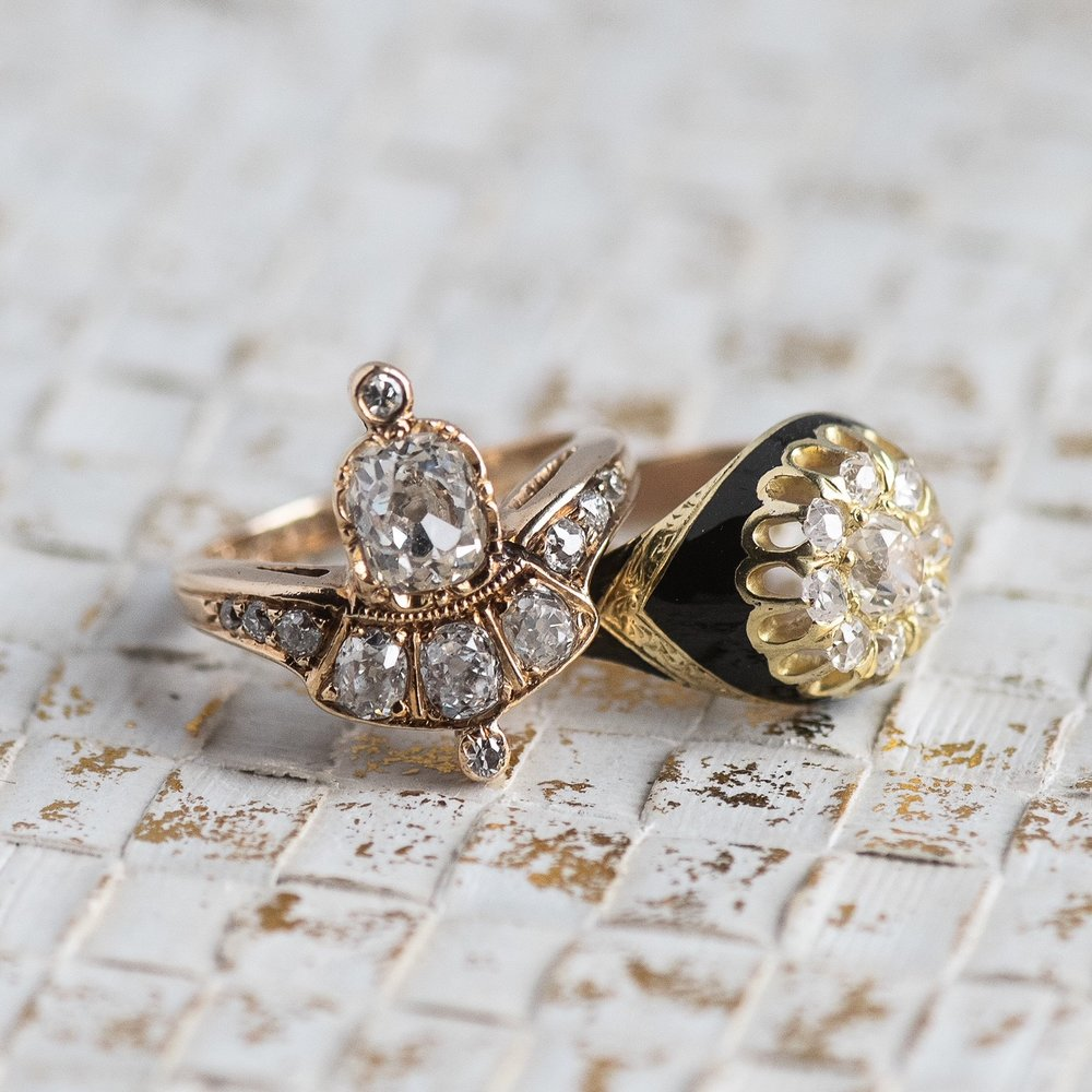 Eclectic elegance from the past! Shop these fabulous Victorian era Old Mine cut diamond rings  HERE  and  HERE .