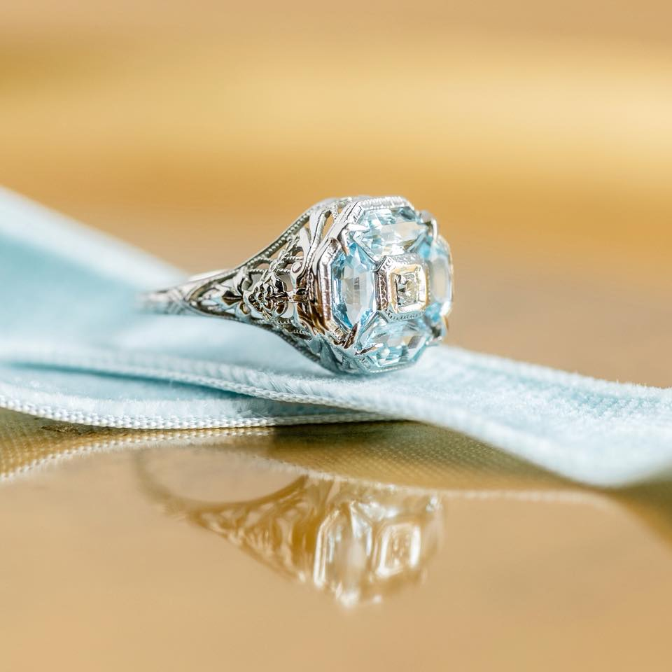 We just can't get enough of this little something blue! Shop this lovely aquamarine and filigree ring  HERE .