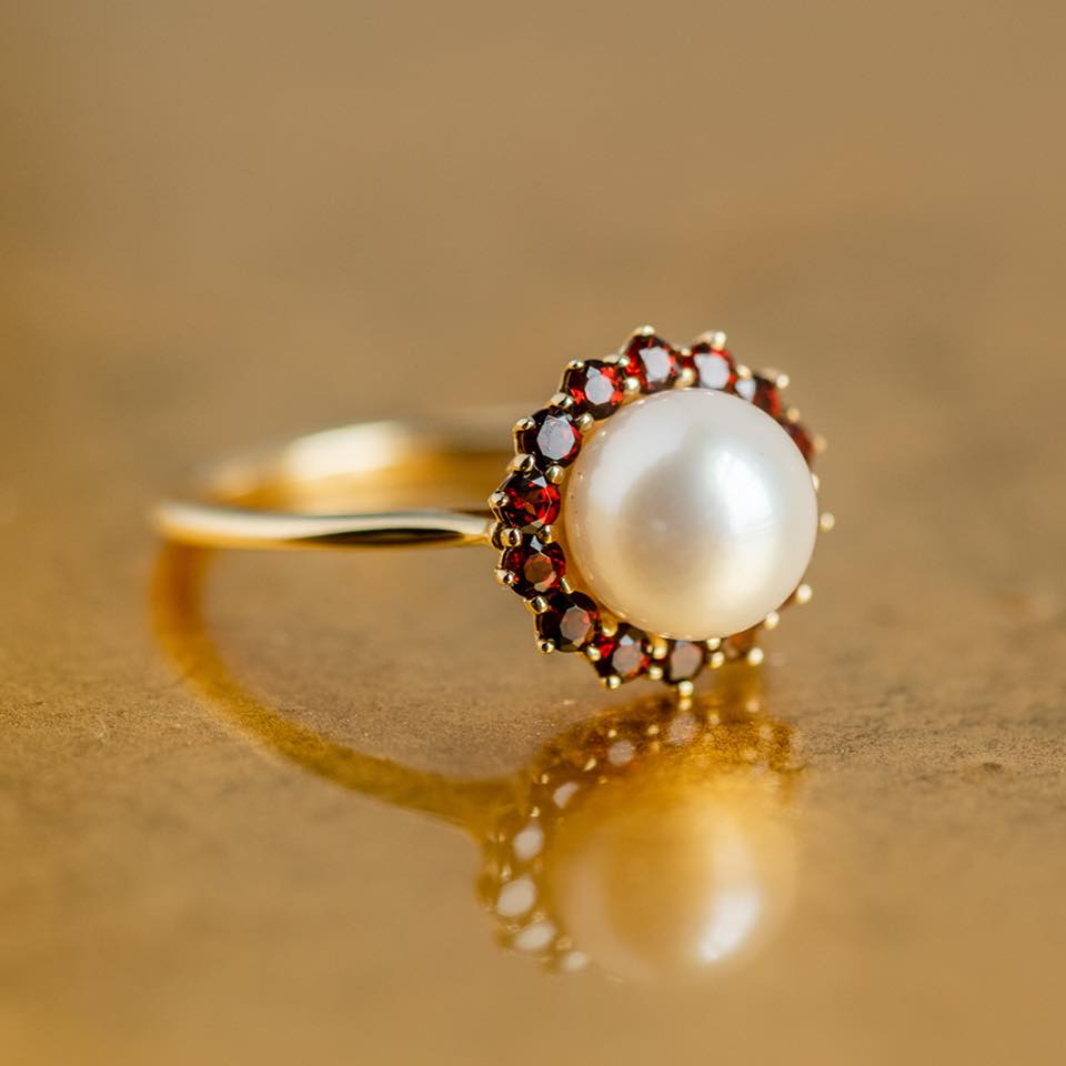 Keeping it classy with this lovely Akoya pearl and garnet ring. Shop  HERE.