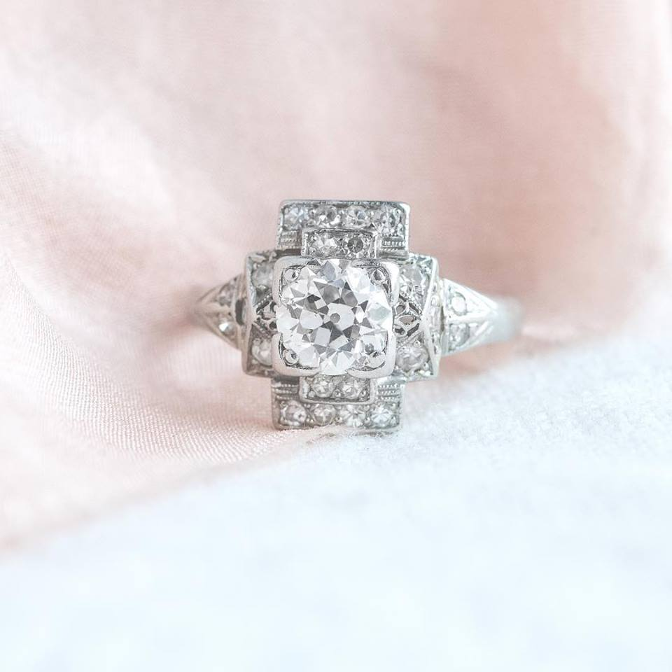 Now this is an Art Deco ring! 💍 Featuring a center 0.95 carat Old European cut diamond in the center, accented beautifully by an additional 0.40 carats of diamonds all set in a platinum graduated geometric setting with subtle filigree details 🙌🏻 Shop this beauty  HERE .