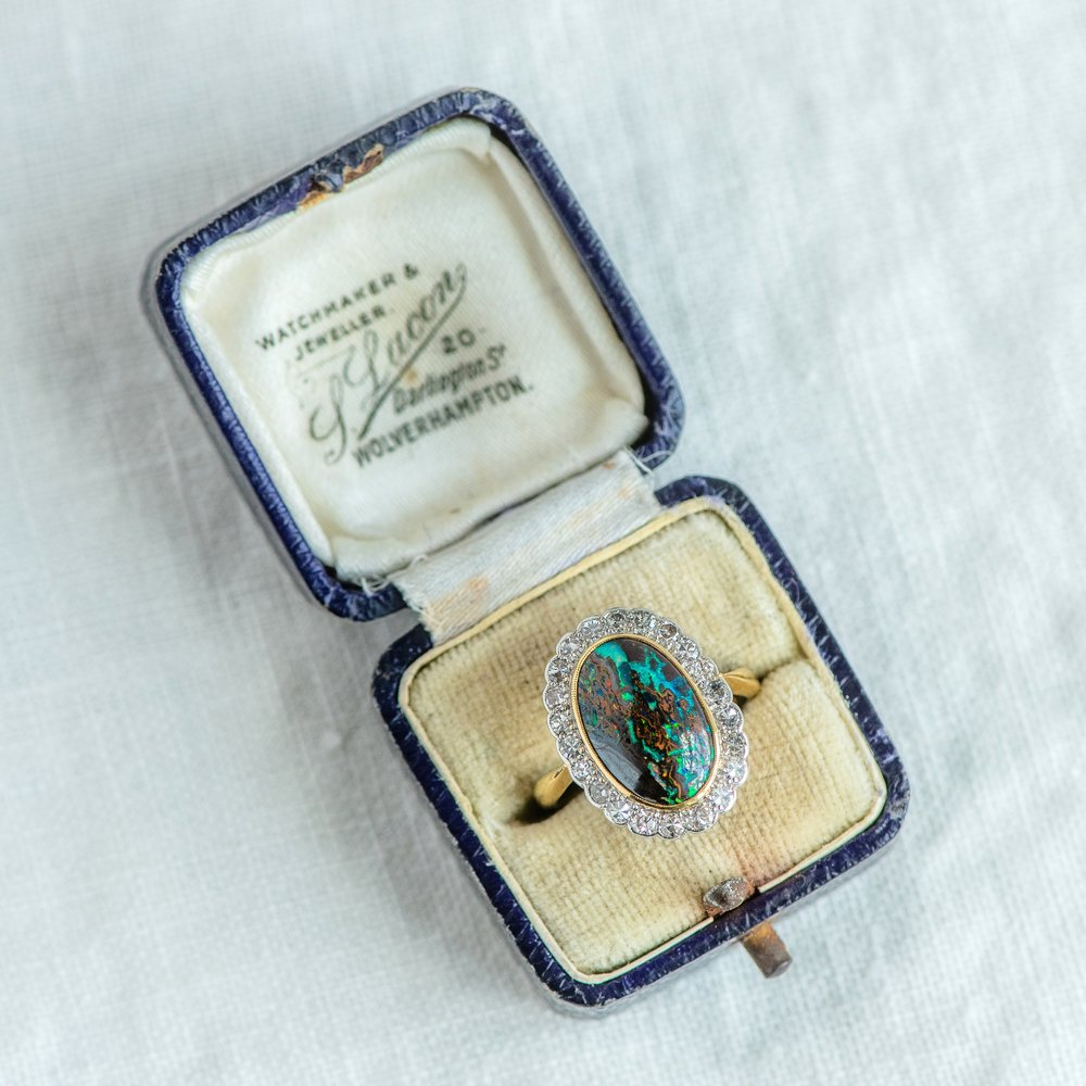 A long long time ago in a 💫galaxy💫 far far away....was this mesmerizing GALACTIC Black Opal and diamond ring from the Edwardian era! 🌎 Shop this fabulous ring  HERE .