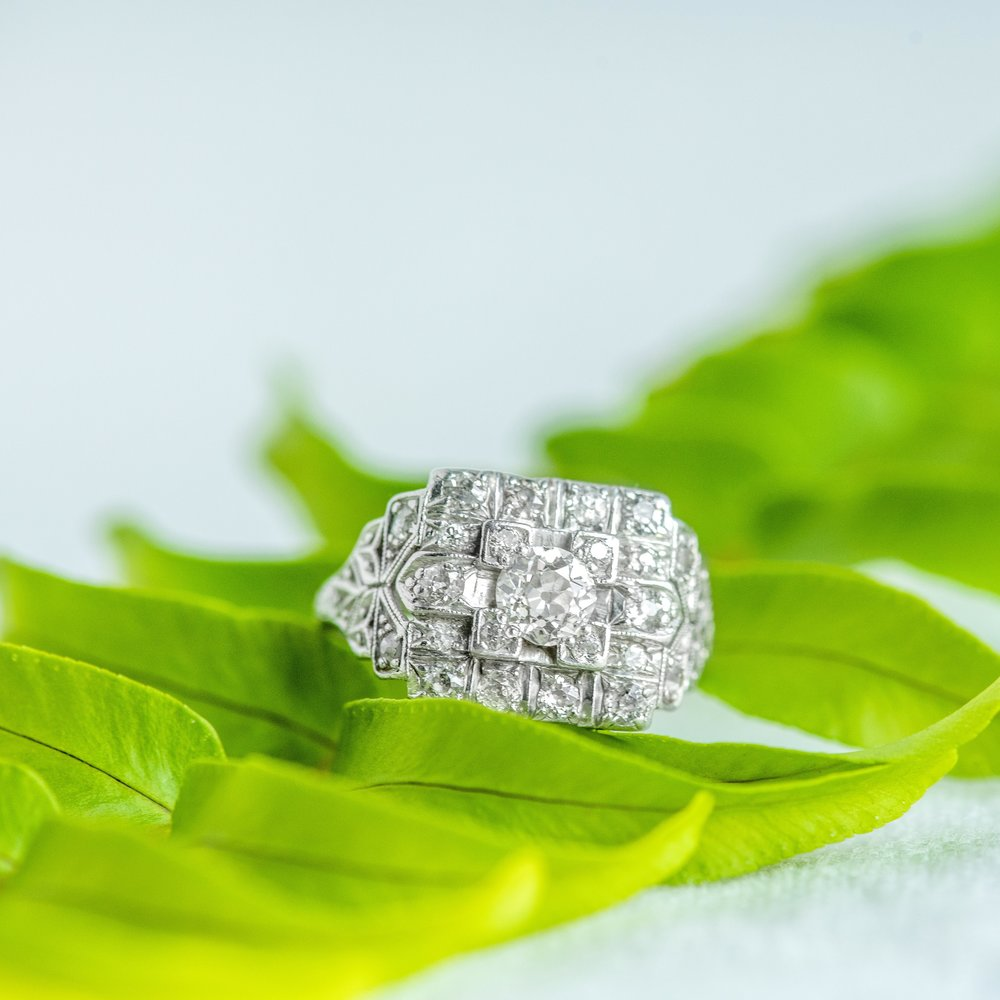 💎💎Diamonds on diamonds on diamonds! We are swooning over this fabulous Platinum Art Deco ring set with over a carat in Old Mine Cut Diamonds 💎💎Tap to shop this ring  HERE !