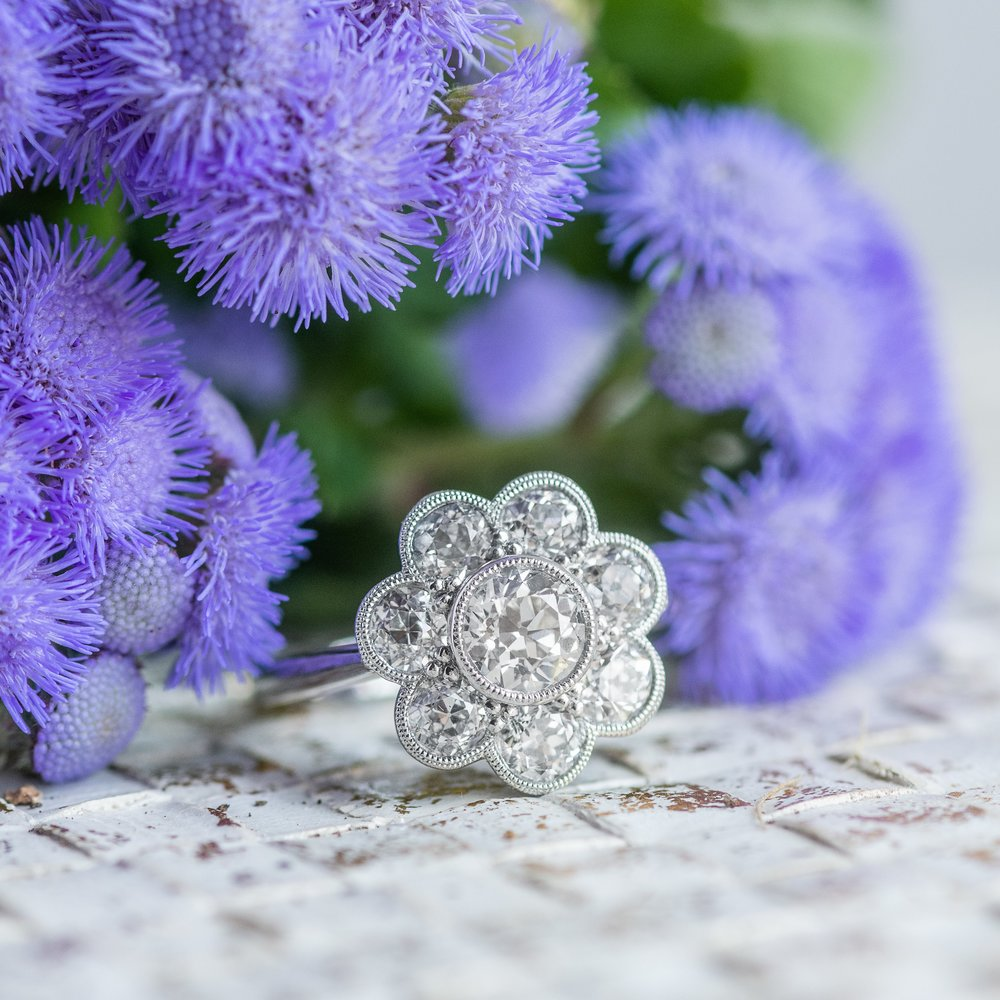 An Old European Diamond cluster ring to brighten your Tuesday! 💍🌞💍🌞💍 Shop this gorgeous ring  HERE !