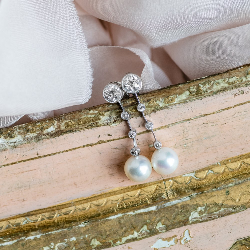 Pearls dangling from a string of diamonds-does it get any sweeter than this?💕 Shop this lovely pair of Art Deco earrings  HERE !