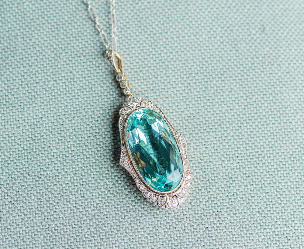 This absolutely gorgeous shade of blue is in fact an aquamarine! And it's all original from the turn of the century (Edwardian era - early 1900's)! Click  HERE  to see all the glorious details of this stunning pendant.