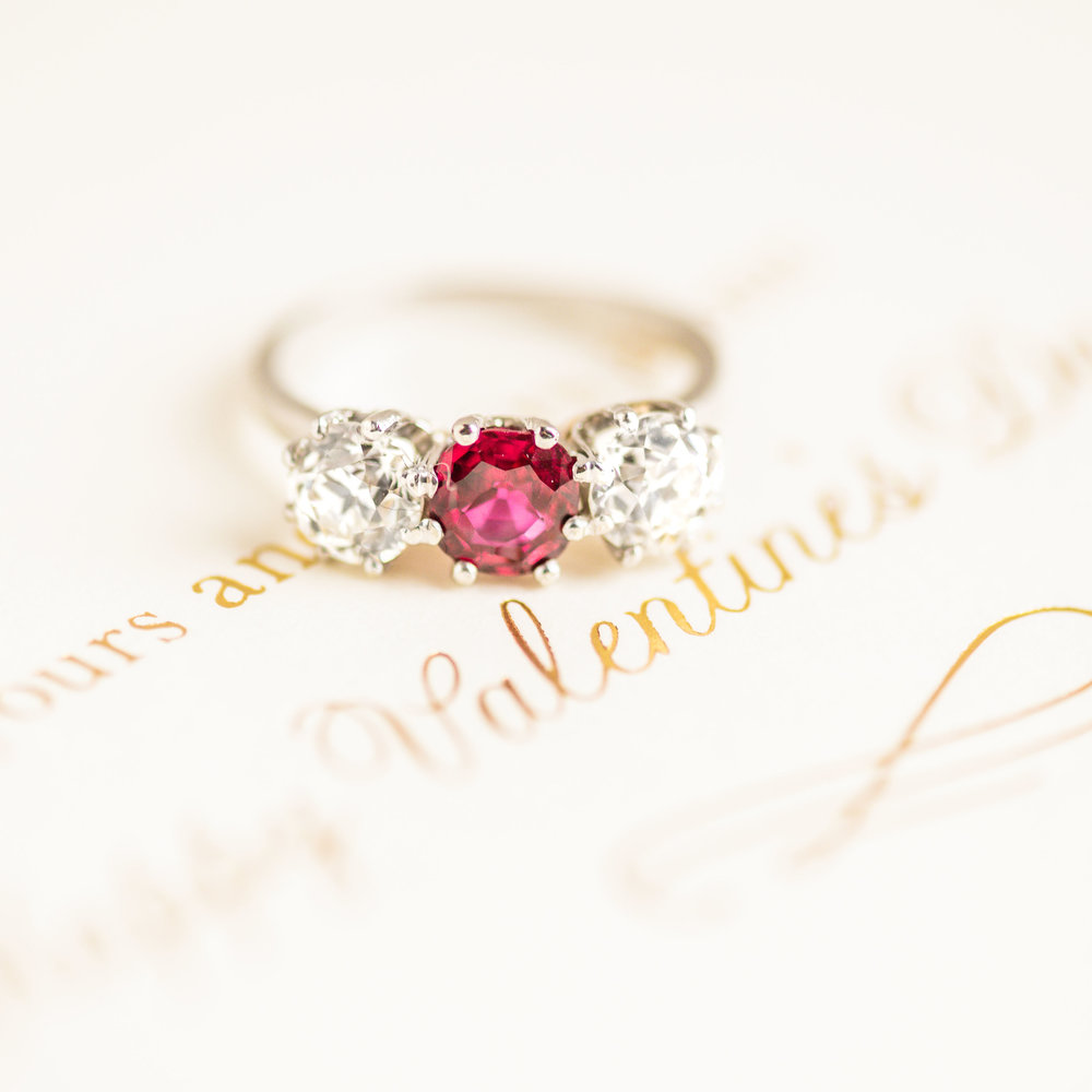 Will you be our Valentine? 💍🌹 Shop this swoon worthy Edwardian era ruby and diamond ring  HERE !