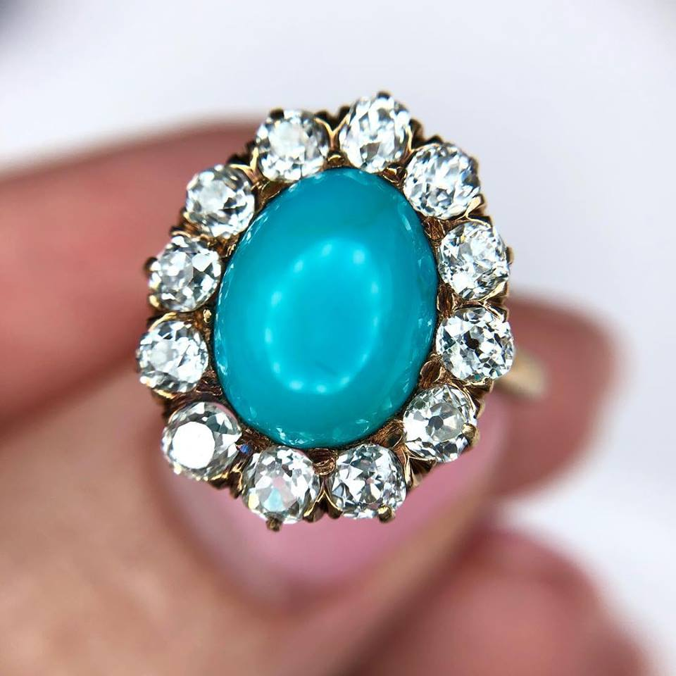 Up close and personal! We're drooling over the Old Mine Cut diamonds in this Victorian turquoise ring! Click  HERE  to shop.