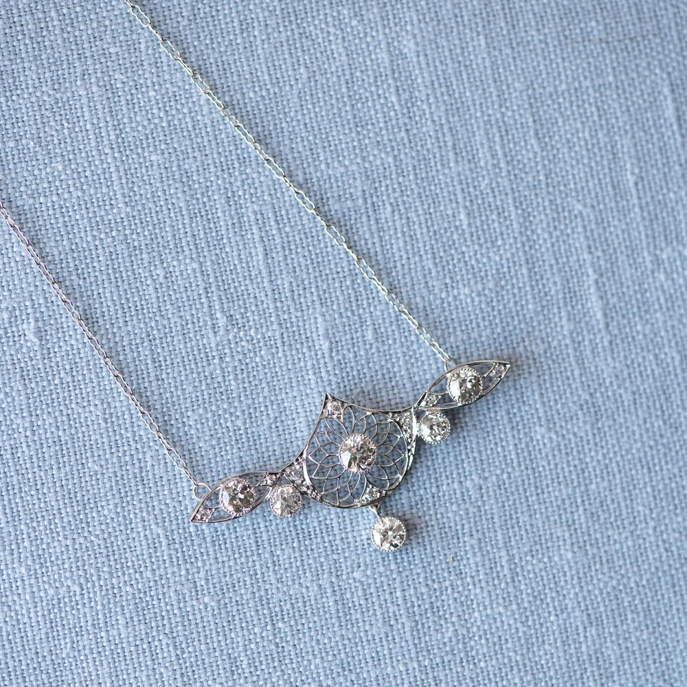 Fabulous Art Deco diamond and filigree necklace. Shop this stunner  HERE .