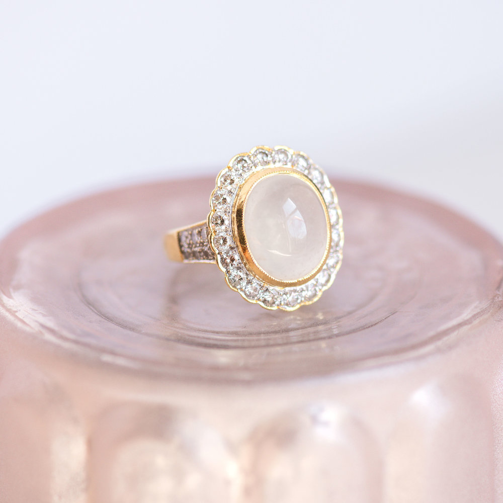 Mystical, enchanting, ethereal, gossamer...Shop this Feldspar and Diamond ring  HERE !