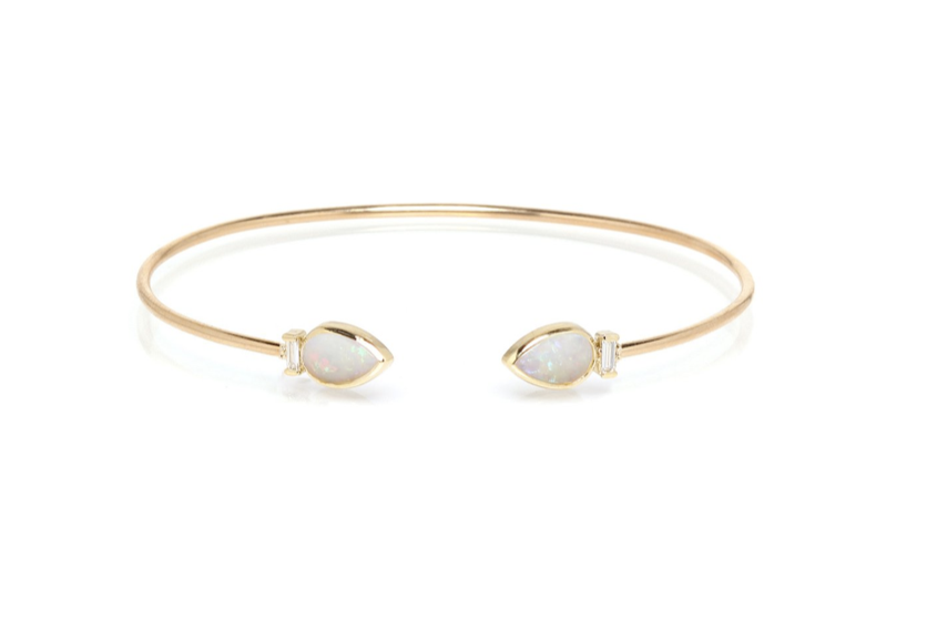 classic jewelry essentials  /  dainty opal and gold cuff bracelet