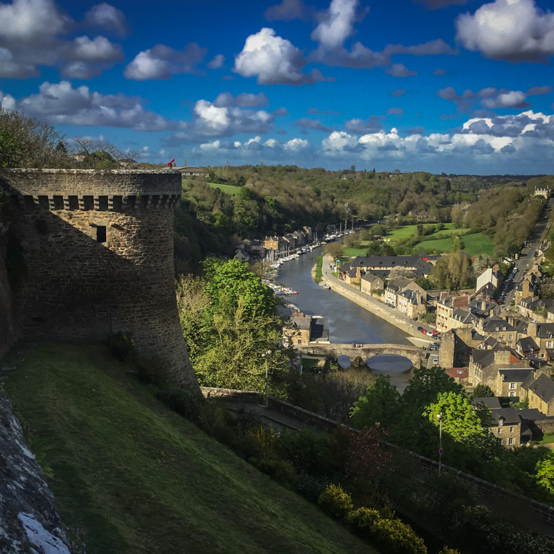 The River Rance and part of the old wall of Dinan