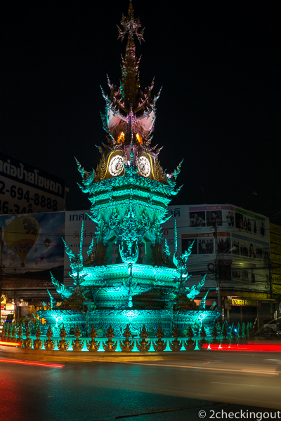 The brighly lit clock tower comes alive each evening