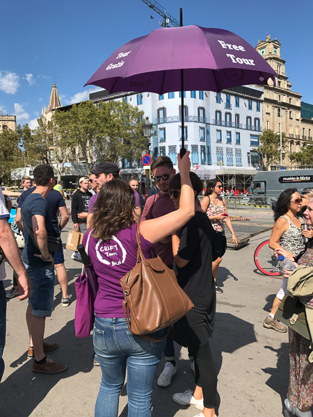 Tour Guide with Umbrella Barcelona