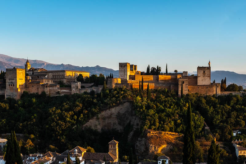 The sun sets on the historic Alhambra