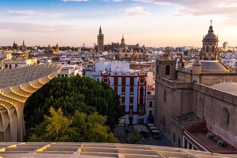 Sunset across Seville from Metropol Parasol