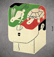 "Thinking, Fast and Slow        ""Thinking, Fast and Slow"" - Psychologist and 2002 Nobel Prize winner Prof. Daniel Kahneman's idea of two systems of thinking - the automatic (system 1) and reflective (system 2).            Drawfour Translation        We are all far more irrational than we think we are.             http://www.nytimes.com/2011/11/27/books/review/thinking-fast-and-slow-by-daniel-kahneman-book-review.html?pagewanted=all"