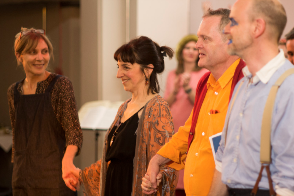 Musarc rideau (Melanie Pappenheim, Cathy Heller Jones, Jeremy Hunt, Joseph Kohlmaier).