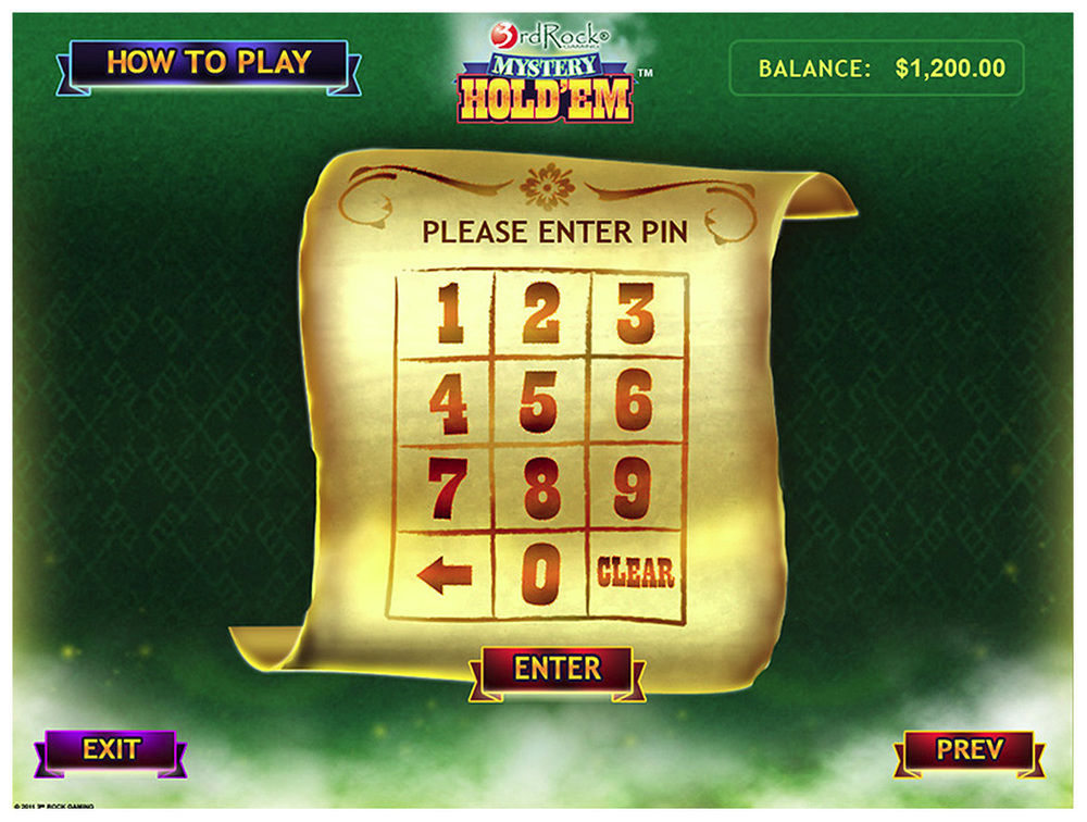 Mystery Hold 'Em Kiosk Log-In
