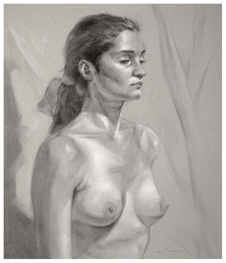 "3 Hrs. from Life—Charcoal on Paper—24"" X 36"""