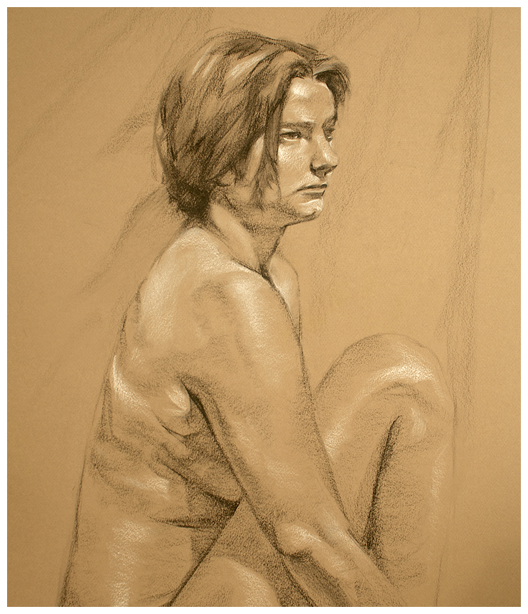 "3 Hrs. from Life—Charcoal and White Chalk on Paper—19"" X 25"""