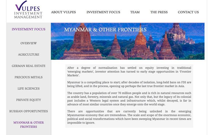 Investement Focus - Myanmar