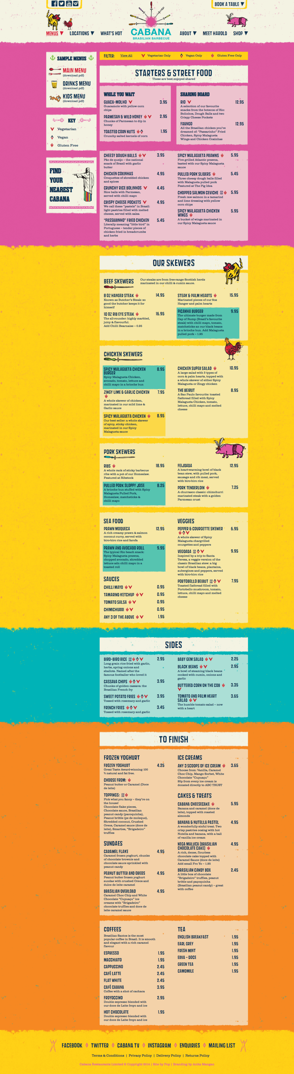 Cabana Menu Page - Click to enlarge